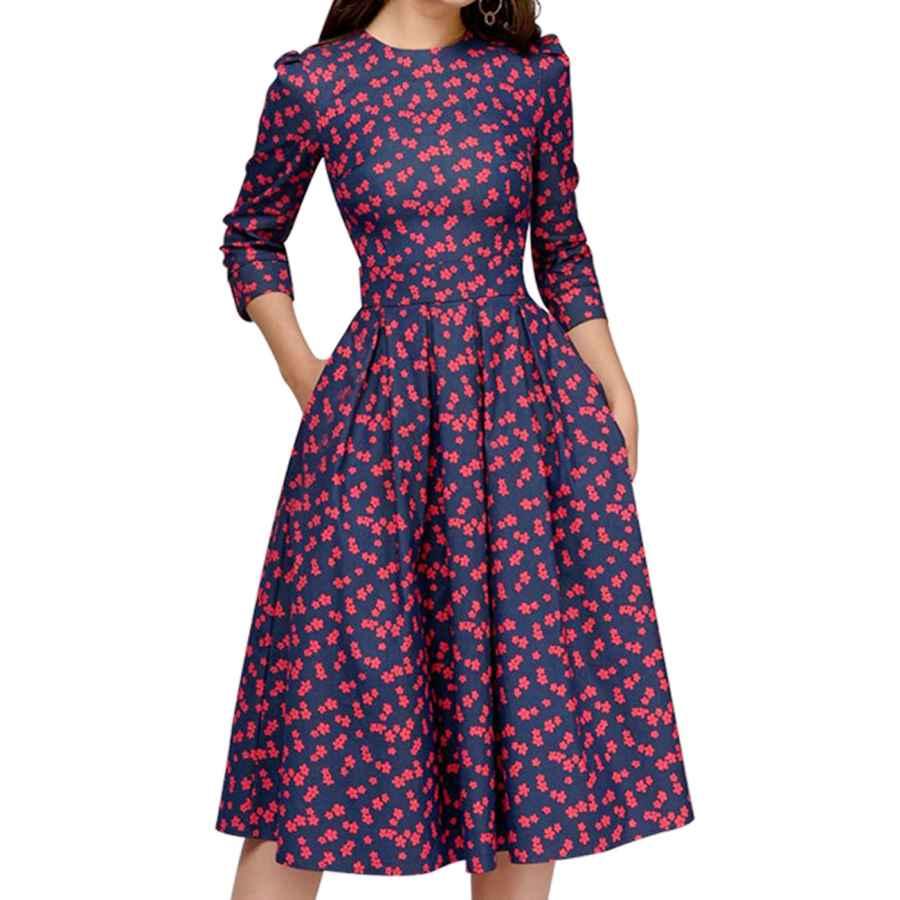 Womens Casual Dresses Simple Flavor Women's Floral Vintage Dress Elegant Midi Evening Dress 3/4 Sleeves
