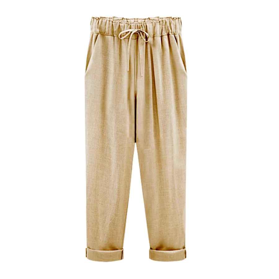 Pants Casual Yeokou Women's Casual Loose Baggy Linen Drawstring Summer