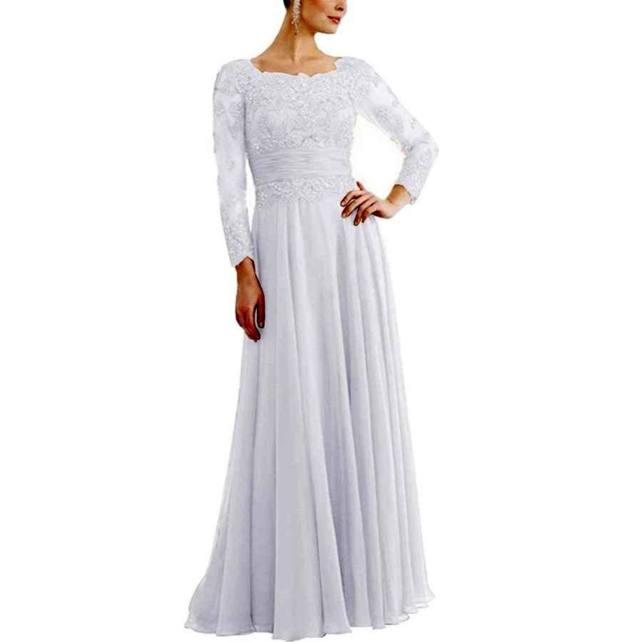 Wedding Dresses Tutu.Vivi Womens Long Sleeves Appliques Chiffon Mother Of