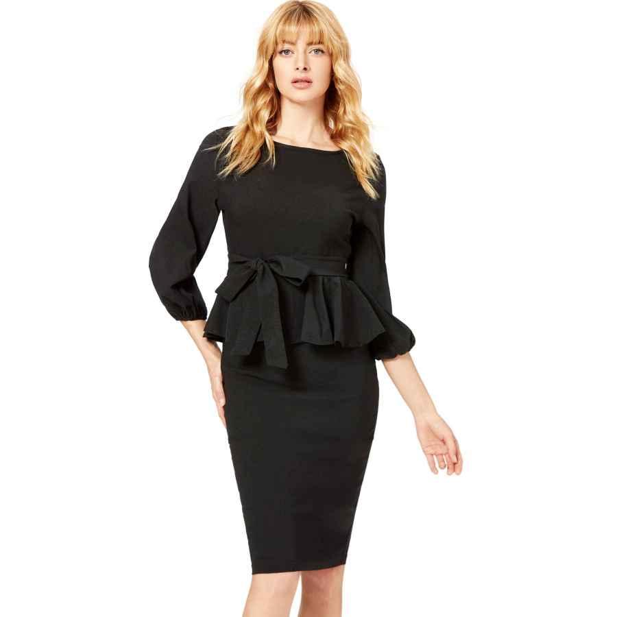 Womens Casual Dresses Floerns Women's Lantern Sleeve Gingham Peplum Business Pencil Dress