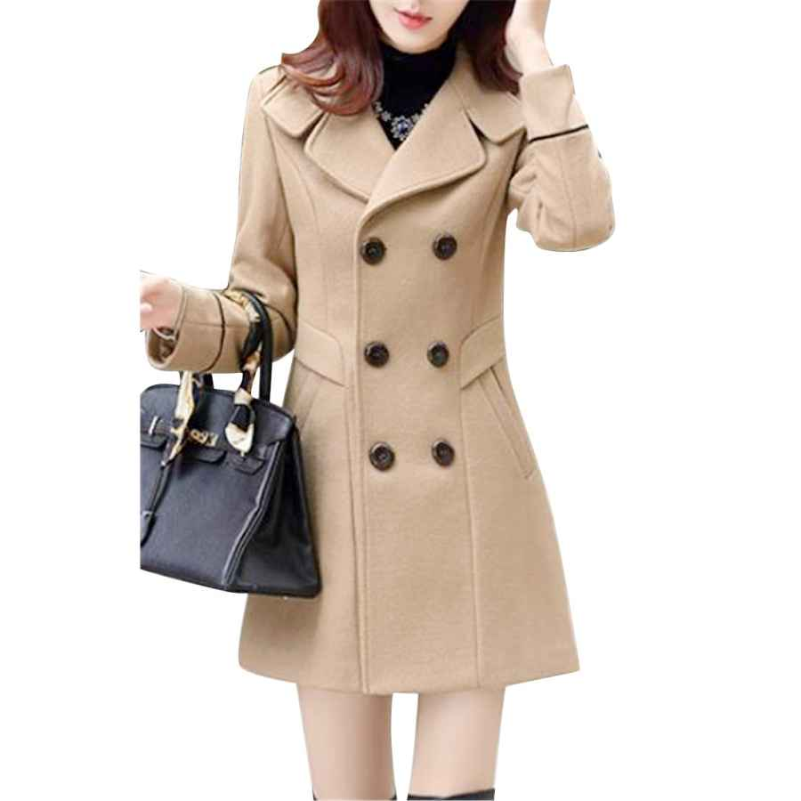 Mouten Womens Double Breasted Solid Fall & Winter Slim Trench Jacket Pea Coat Overcoat