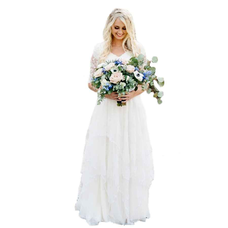 Wedding Dresses Lnxianee Women's Country Bohemian Wedding Dresses Lace Modest