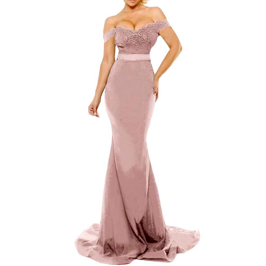 Wedding Dresses Women's Off The Shoulder Lace Mermaid Prom Party