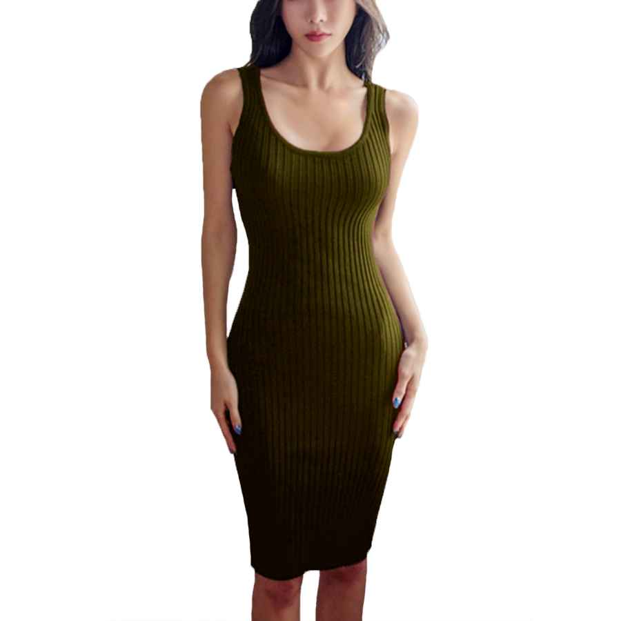 Womens Casual Dresses Faimilory Cotton Knitted Scoop Neck Stretch Knee Length Bodycon Casual Midi Tank Dress