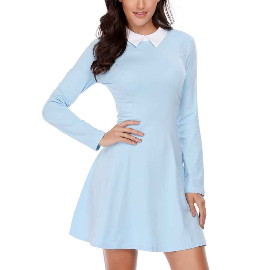 Womens Casual Dresses Fensace Womens Peter Pan Collar Long Sleeve Fit And Flare Skater Casual Halloween Dress