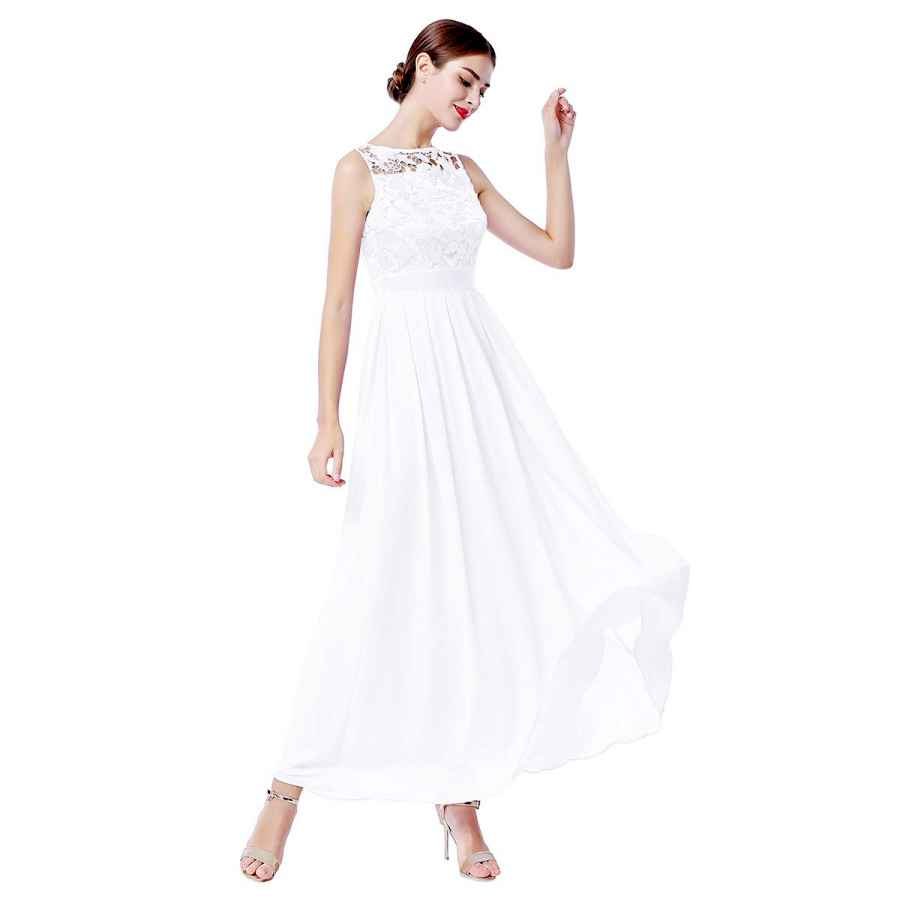 Wedding Dresses Women�â�€�™s Lace Flower Sleeveless Chiffon Long Dress Wedding