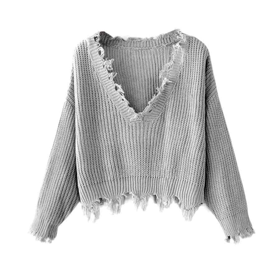 Pullower Zaful Women's Solid V Neck Loose Sweater Long Sleeve