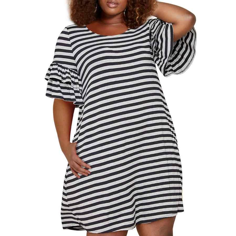 Womens Casual Dresses Nemidor Women's Ruffle Sleeve Jersey Knit Plus Size Casual Swing Dress With Pocket