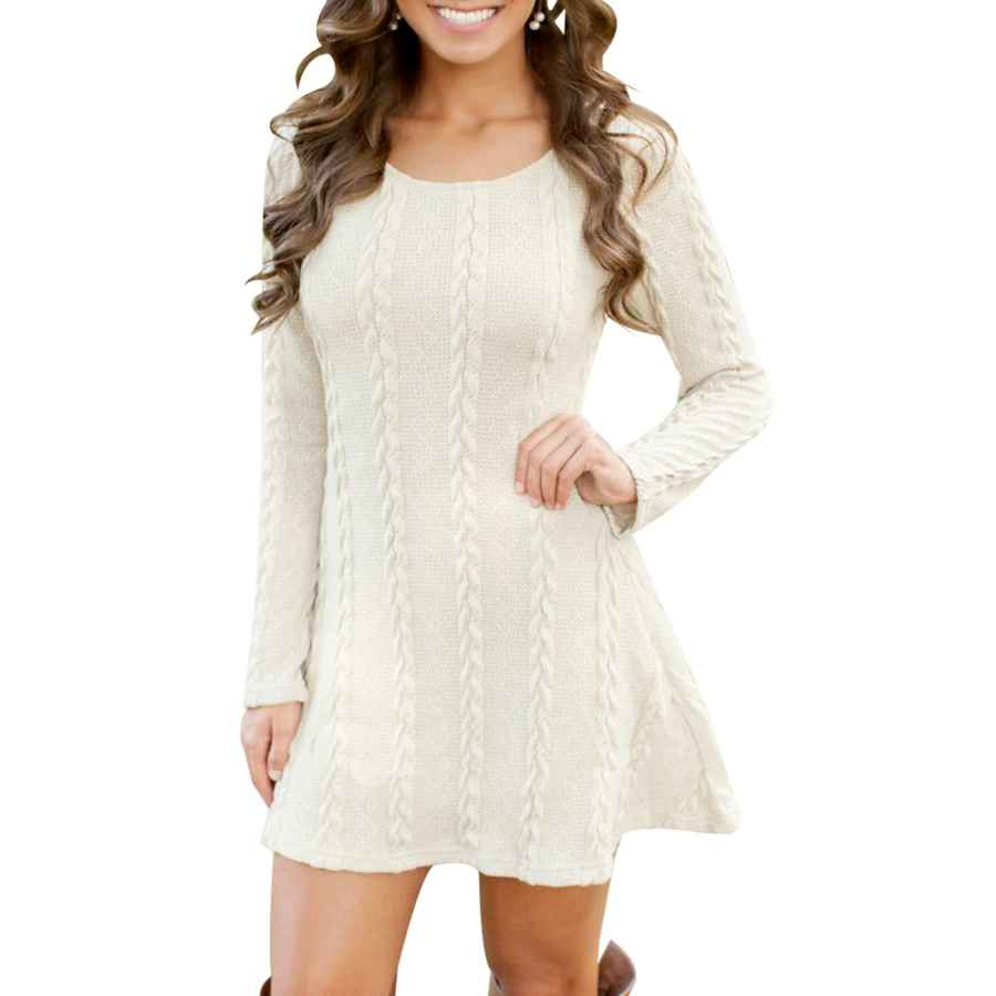 Womens Casual Dresses Efofei Womens Long Sleeve Knitted Casual Loose Round Neck Sweater Mini Dress