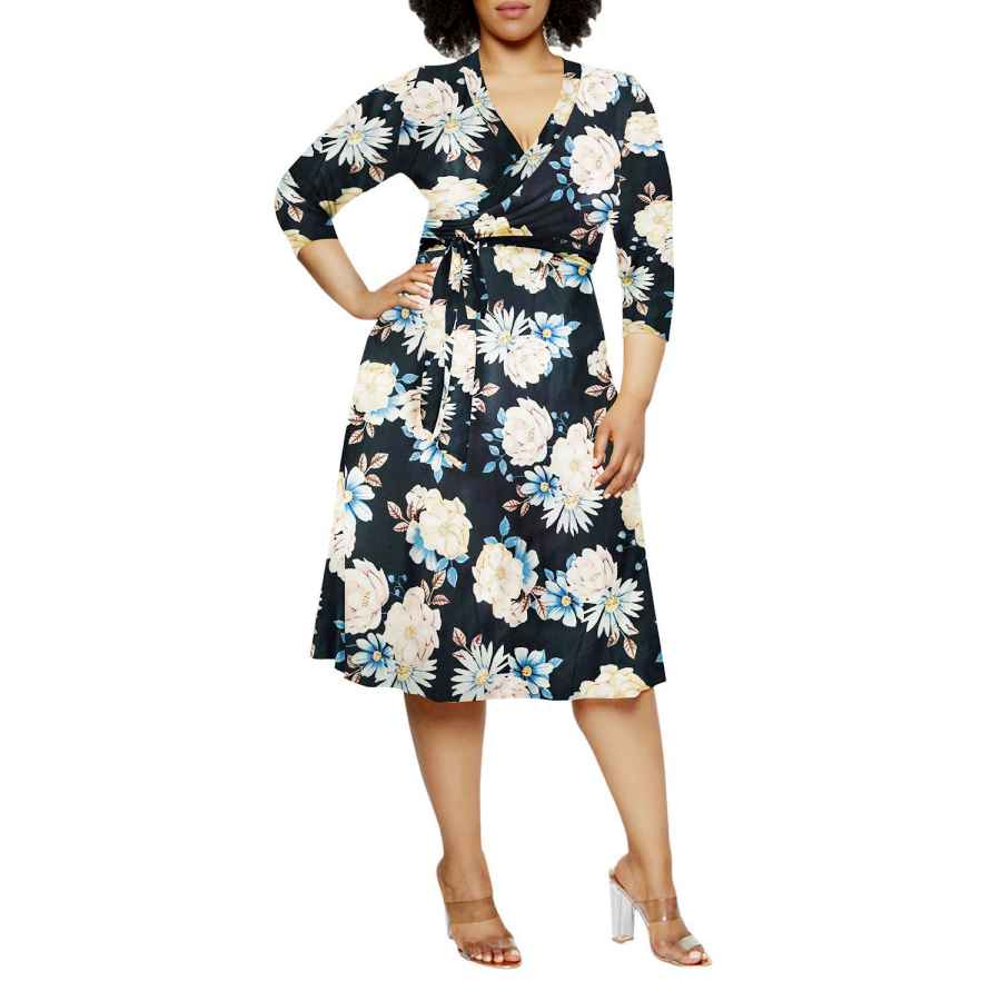 Womens Casual Dresses Pink Queen Women's Plus Size 3/4 Sleeve Faux Wrap Floral Dress With Belt