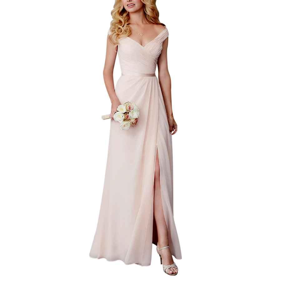 Wedding Dresses Alfabridal Off Shoulder V-Neck Long Chiffon Bridesmaid Wedding