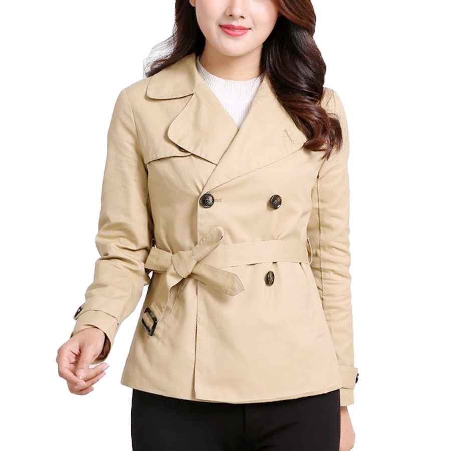 Women Elegant Double Breasted Belted Plus Size Jacket Trenchcoat Long Sleeve Trench Gothic Coat Tops