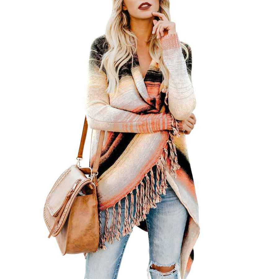 Cardigans Exlura Women�â�€�™s Open Front Knitted Tassel Cardigan Stripes Slash