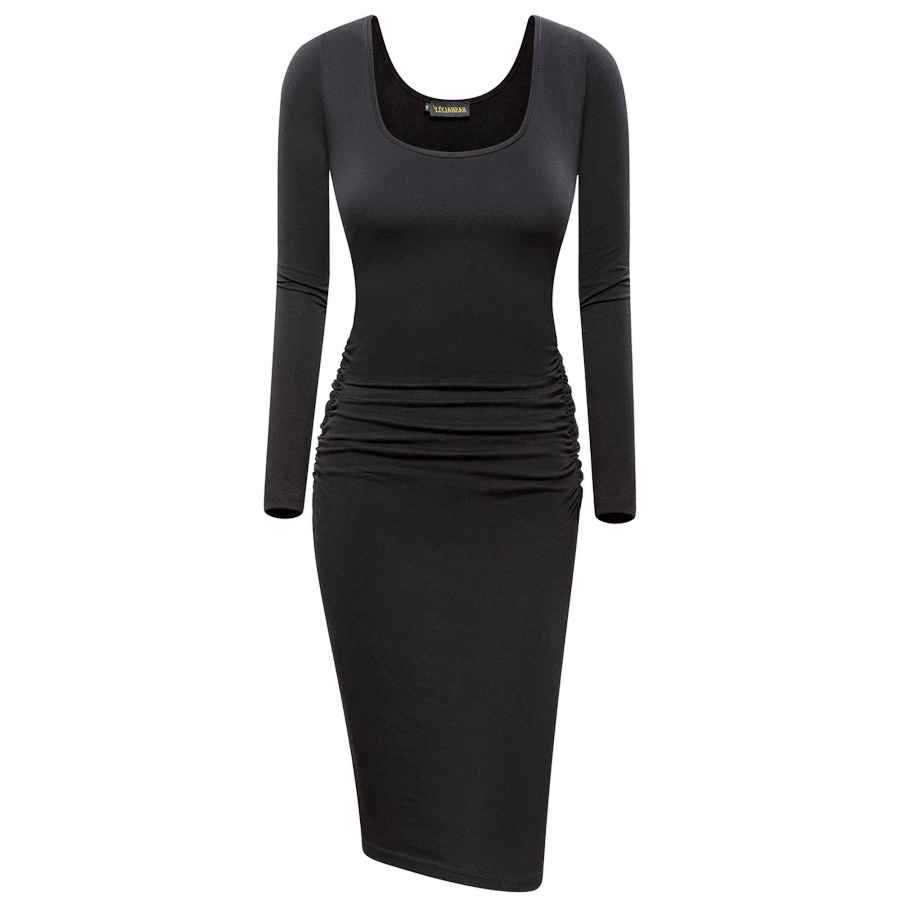 Womens Casual Dresses Nashalyly Women's Ruched Casual Long Sleeve Knee Length Bodycon Basic Fitted Dress