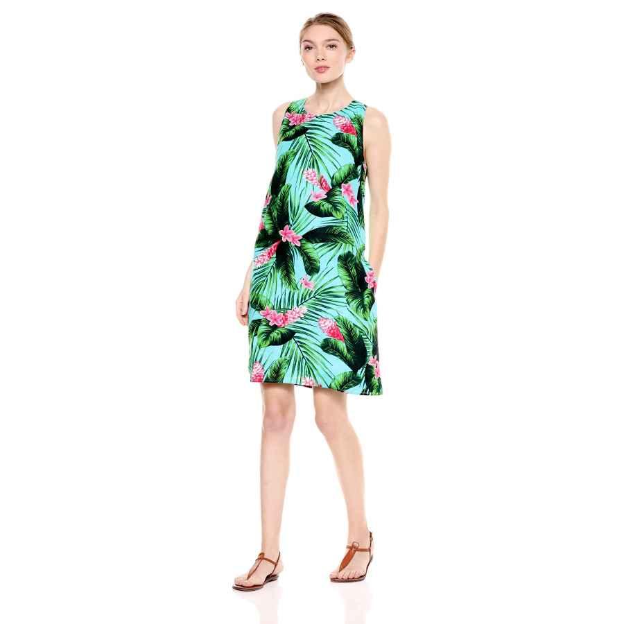 Womens Casual Dresses Amazon Brand - 28 Palms Women's 100% Linen Hawaiian Print Sleeveless Shift Dress With Pockets
