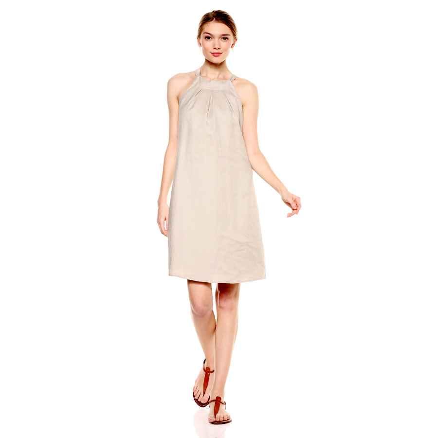 Womens Casual Dresses Amazon Brand - 28 Palms Women's 100% Linen Halter Hawaiian Print Shift Dress