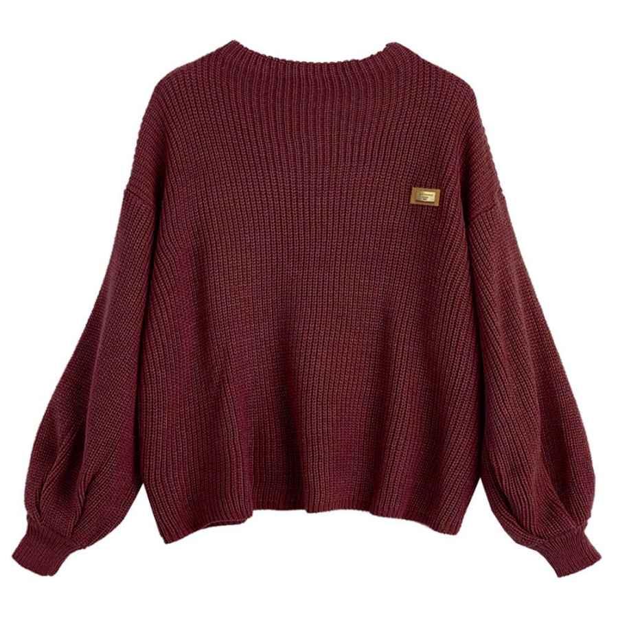 Pullower Zaful Women's Casual Loose Knitted Sweater Lantern Sleeve Crewneck