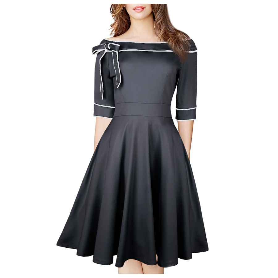 Womens Casual Dresses Women's Casual Off Shoulder Pocket Bowknot Rockabilly Swing Vintage Cocktail Party Dress 188