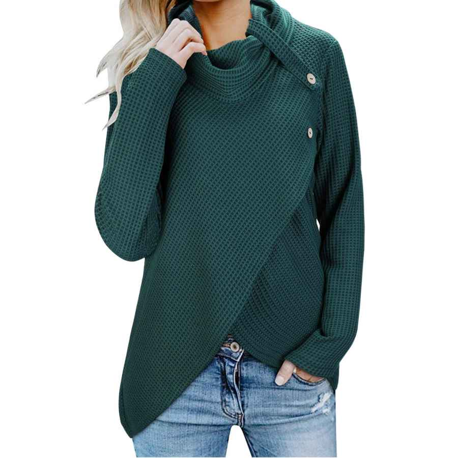 Pullower Kilig Womens Long Sleeve Button Cowl Neck Casual Knitted