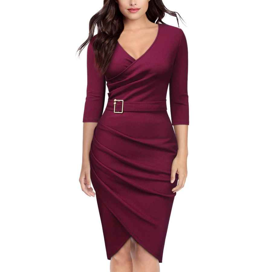 Womens Casual Dresses Knitee Women's Vintage V-Neck Criss Cross Ruched Evening Party Cocktail Bodycon Sheath Formal Pencil Dress