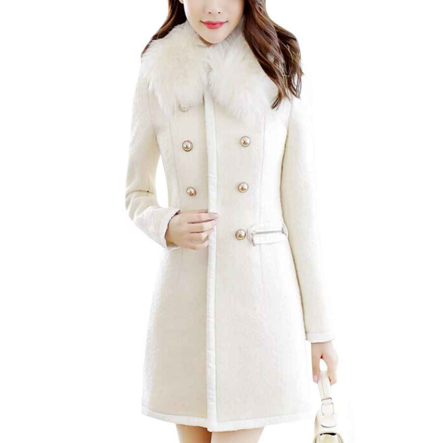 Tanming Women's Casual Crew Neck Wool Blend Double Breasted Pea Coat Trench Coat