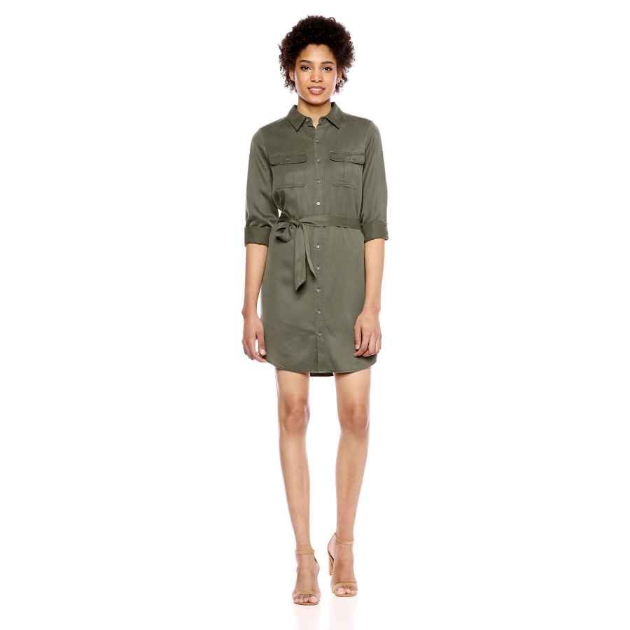 Womens Casual Dresses Amazon Brand - Daily Ritual Women's Tencel Long-Sleeve Utility Dress