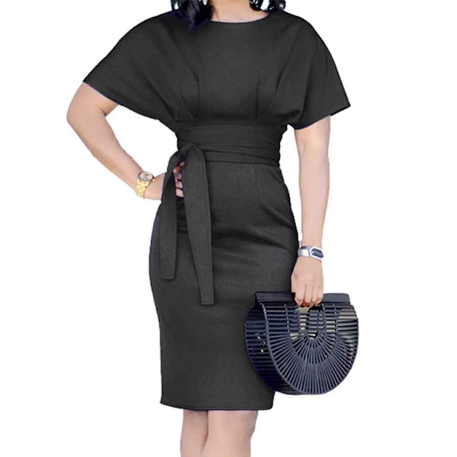 Womens Casual Dresses Ycooce Women's Casual Pencil Dress Belt Elegant Short Sleeve Dress Wear To Work