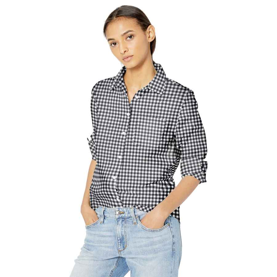 Blouses amazon essentials women's classic-fit long-sleeve poplin shirt