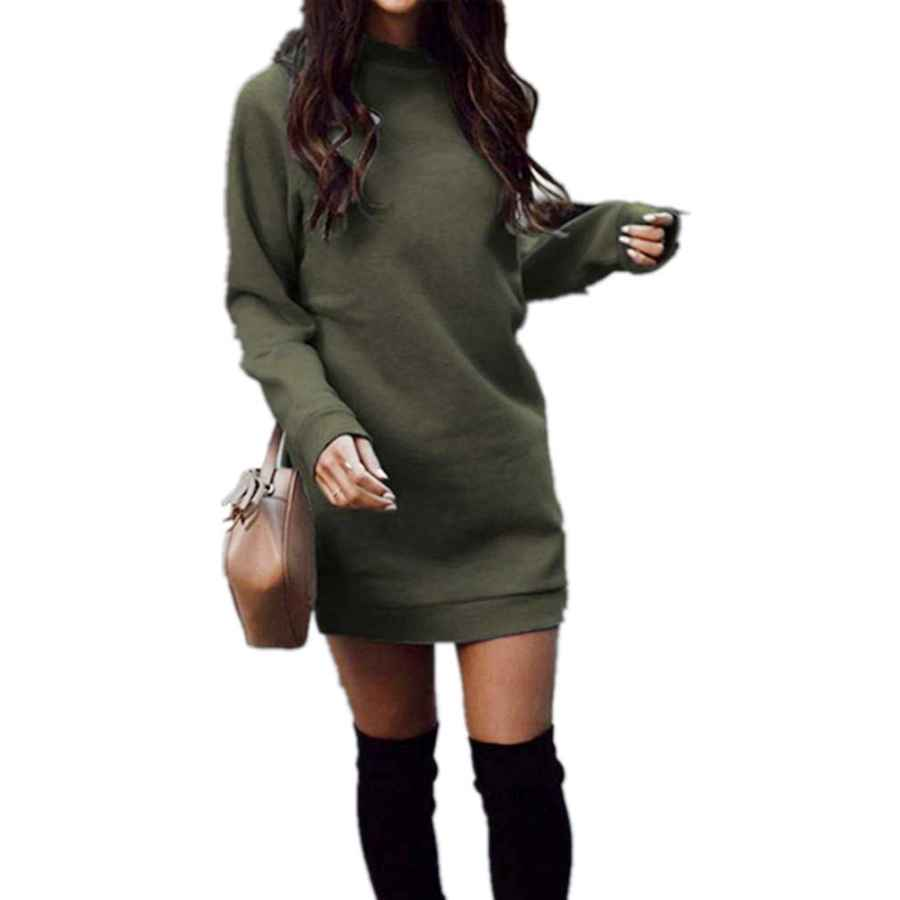 Pullower Xuan2xuan3 Women's Fleece Long Sweatshirt Dress Crewneck Pullover Casual