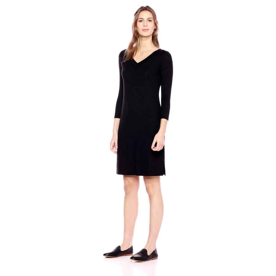 Womens Casual Dresses Amazon Brand - Daily Ritual Women's Cozy Knit 3/4-Sleeve V-Neck Dress