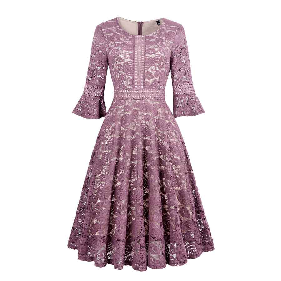 Womens Casual Dresses Twinklady Women's Vintage Full Lace Bell Sleeve Big Swing A-Line Dress
