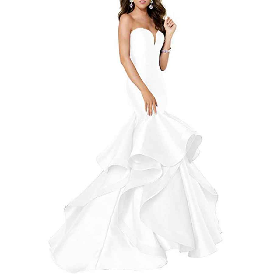 Wedding Dresses Women's Sweetheart Mermaid Tiered Prom Dresses Long 2019