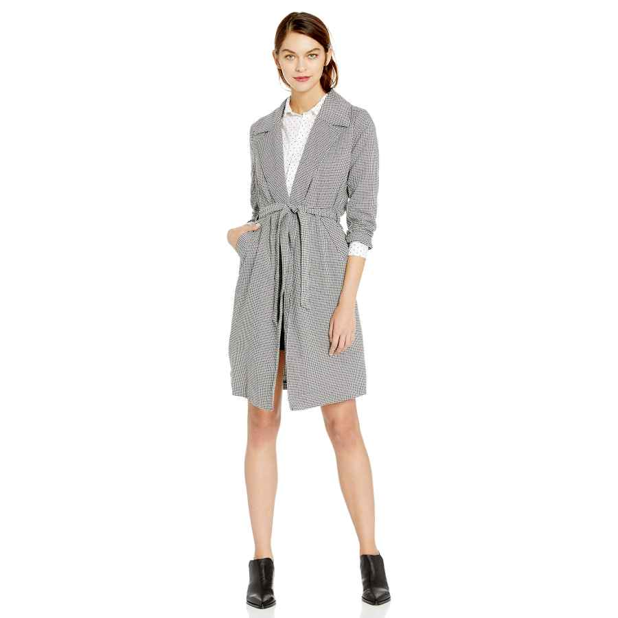 Jokhoo Womens Casual Slim Double-Breasted Lapel Solid Peacoat Trench Coat