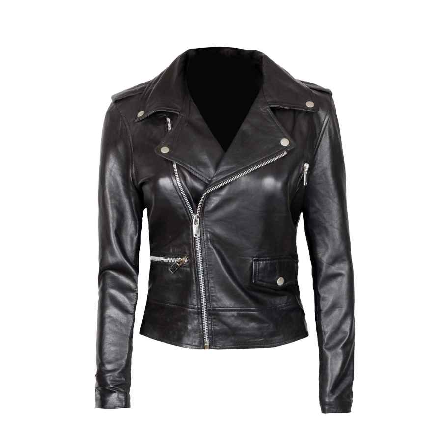 Womens Black Leather Jacket - Real Lambskin Chocolate Brown Leather Jackets For Women