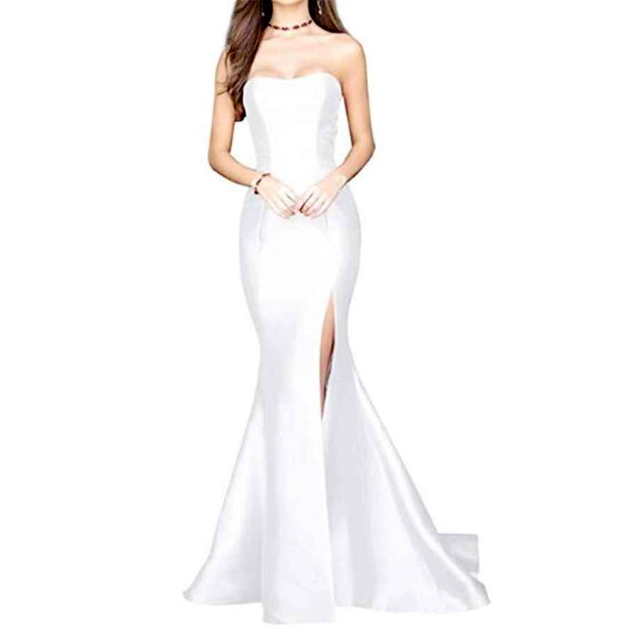 Wedding Dresses Yuki Isabelle Strapless High Slit Backless Long Prom