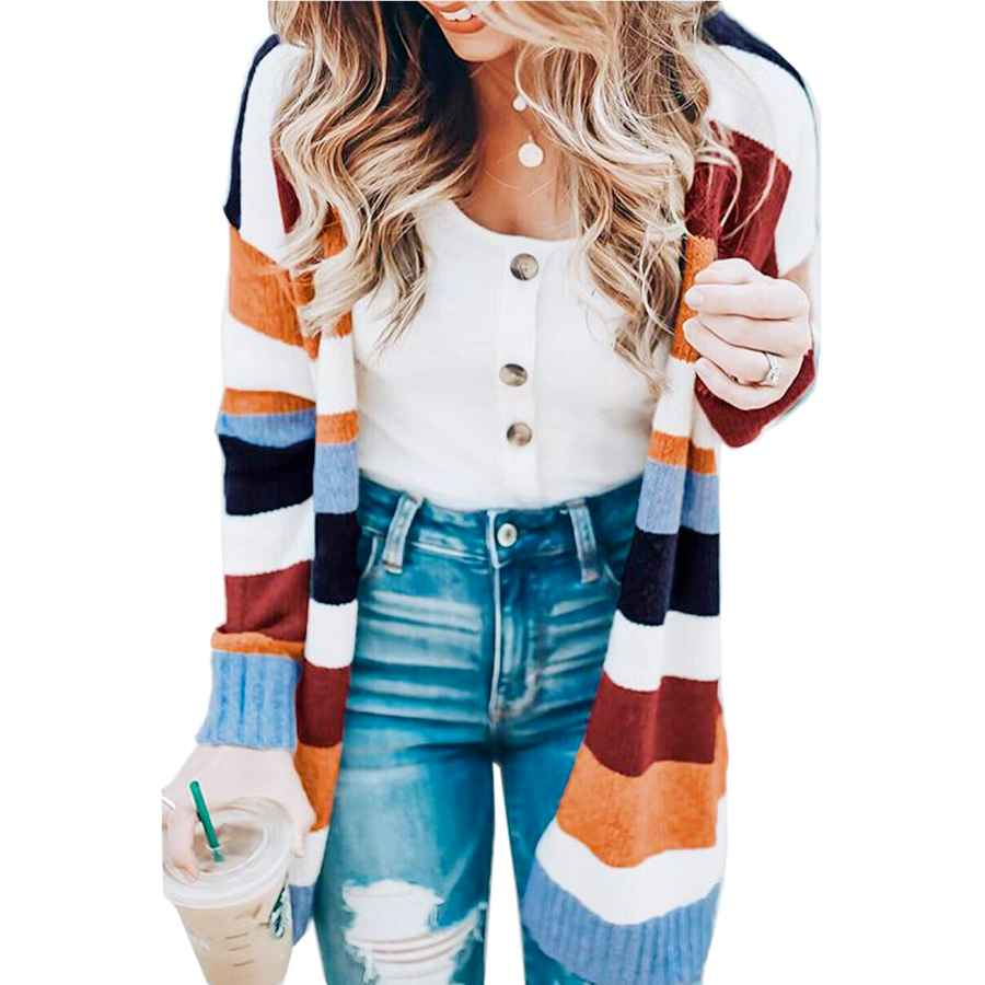 Cardigans Womens Color Block Striped Cardigan Long Sleeve Open Front