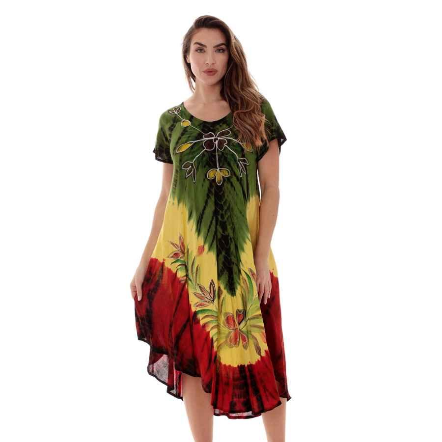 Womens Casual Dresses Riviera Sun Rasta Sundress For Women Rayon Cap Sleeve Summer Dress