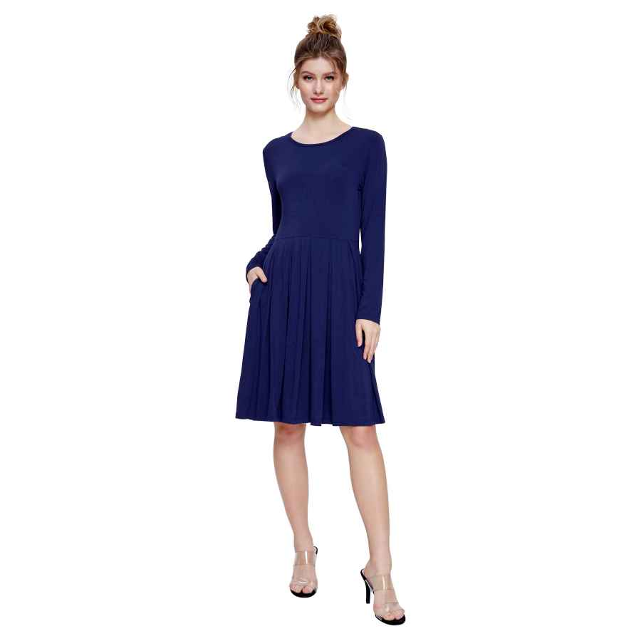 Womens Casual Dresses Weintee Women's Casual Dress Pleated Knee Length Dress With Pockets
