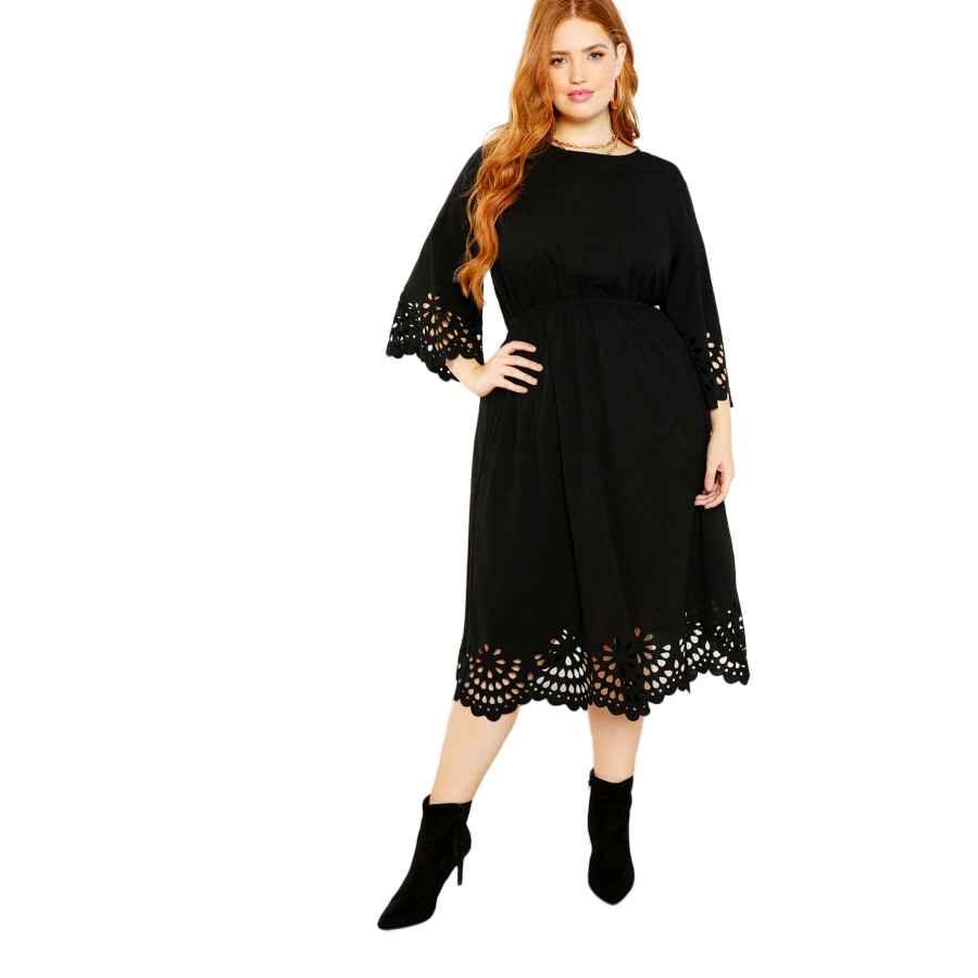 Party Dresses Romwe Women's Plus Size Laser Cut Out Solid