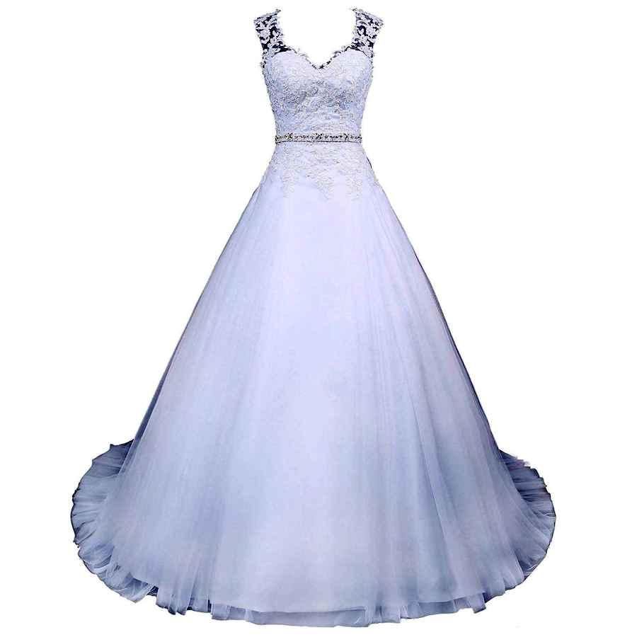 Wedding Dresses Voteron Women's Vintage Beaded Lace Appliques Wedding Dress