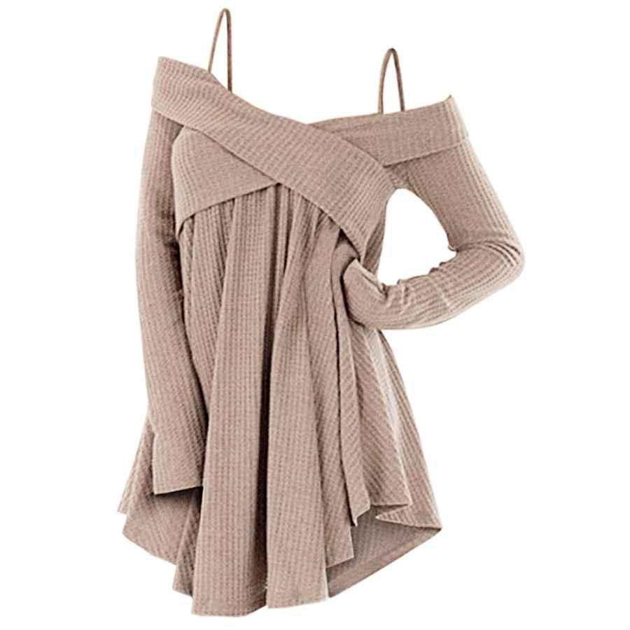 Pullower Zezclo Cold Shoulder Crisscross Tunic Sweater Women Straps Long