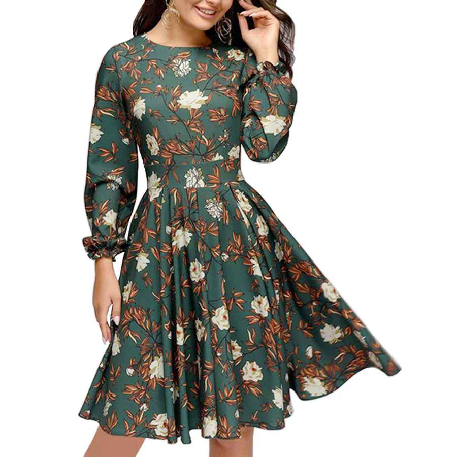 Womens Casual Dresses Simple Flavor Women's Floral Vintage Cocktail Swing Dress Ruffle Sleeve