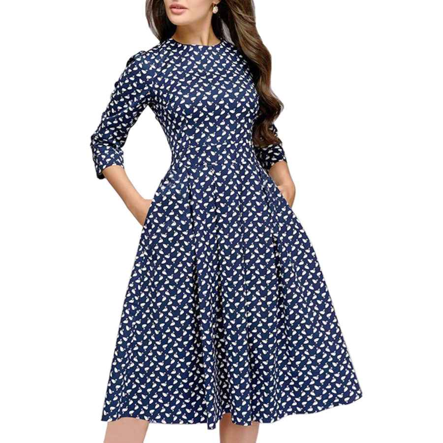 Womens Casual Dresses Simple Flavor Women's Floral Evening Flare Vintage Midi Dress 3/4 Sleeve