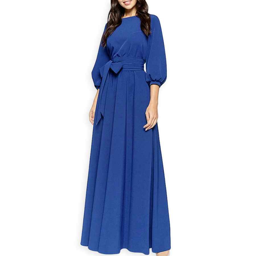 Womens Casual Dresses Aooksmery Women Elegance Audrey Hepburn Style Round Neck 3/4 Puff Sleeve Puffy Swing Maxi Dress With Belt