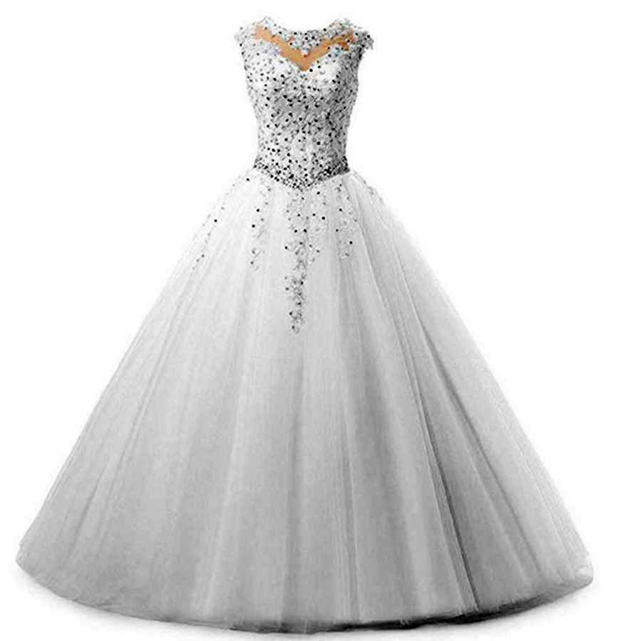 Wedding Dresses Yuki Isabelle Women's Lace Appliques Sequined Evening Party