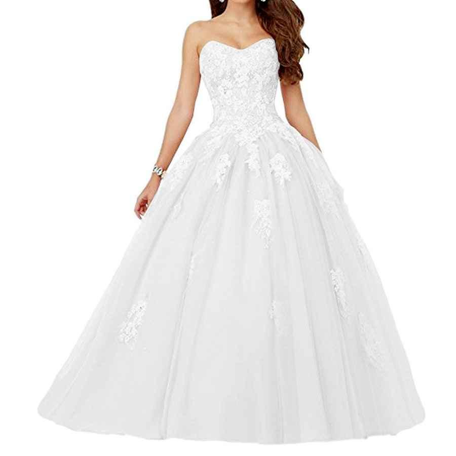 Wedding Dresses Voteron Women's Beaded Lace Appliques Prom Dress Ball