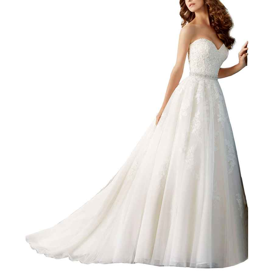 Wedding Dresses Lace Sexy Applique Sweetheart Beaded Lace A Line