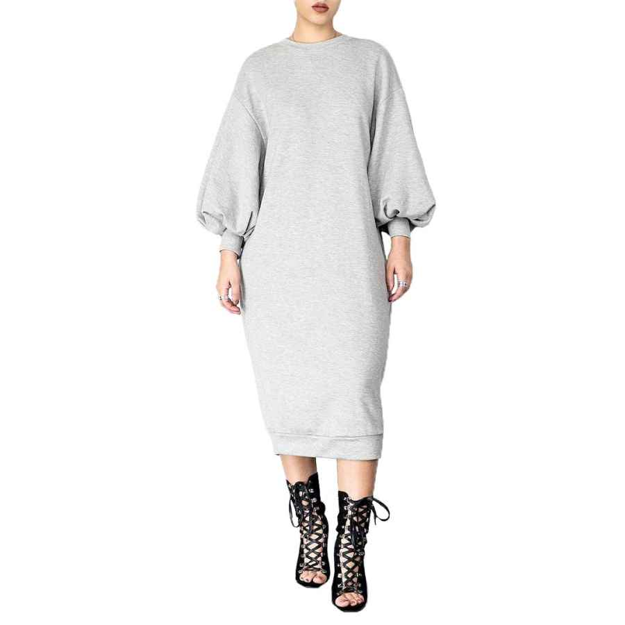 Womens Casual Dresses Speedle Women Casual Crew Neck Bell Puff Sleeve Solid Wear To Work Shift Sweatshirt Dress