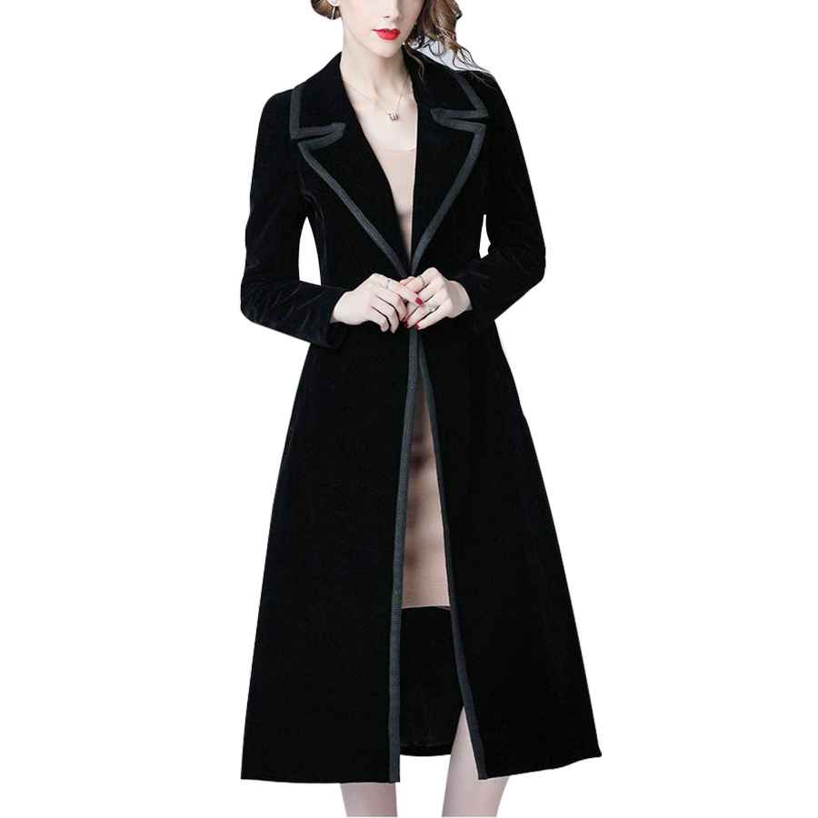 Omoone Women's Double Breasted Lapel Midi Long Vintage Velvet Trench Coat