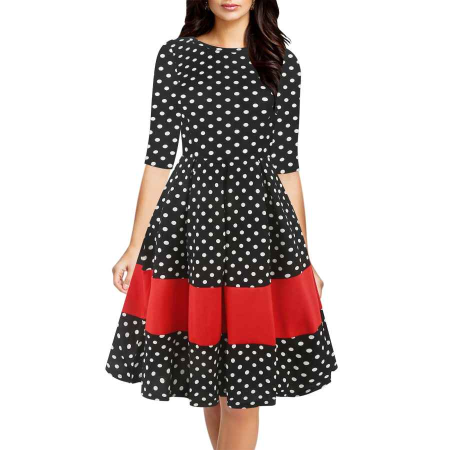 Womens Casual Dresses Oxiuly Women's Vintage Half Sleeve O-Neck Contrast Casual Pockets Party Swing Dress Ox253